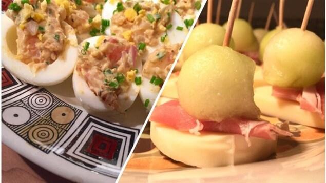 Photos des bouchées avec les oeufs aux crevettes et le melon miel, le fromage et le proscuitto