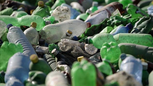 Des bouteilles usagées en plastique dans un dépotoir.