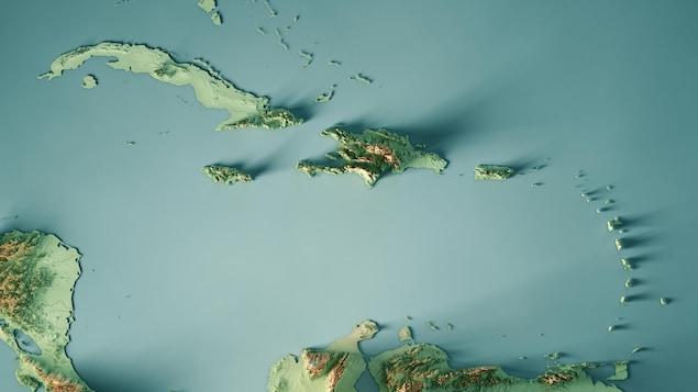 Carte topographique des Caraïbes.