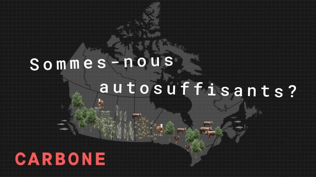La question « Sommes-nous autosufissants? » est écrite sur une carte du Canada où l'on montre les principales ressources alimentaire par province.