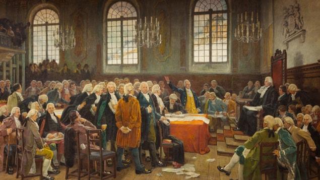 La toile Le débat sur les langues, de Charles Huot. On voit des parlementaires qui débattent vers la fin des années 1700.