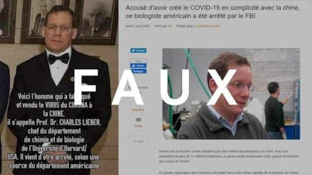 Un montage d'une photo de Charles Lieber avec le résumé de la théorie conspirationniste, ainsi qu'un article d'un site web qui porte sur cette théorie. Le mot «FAUX» apparaît sur l'image.