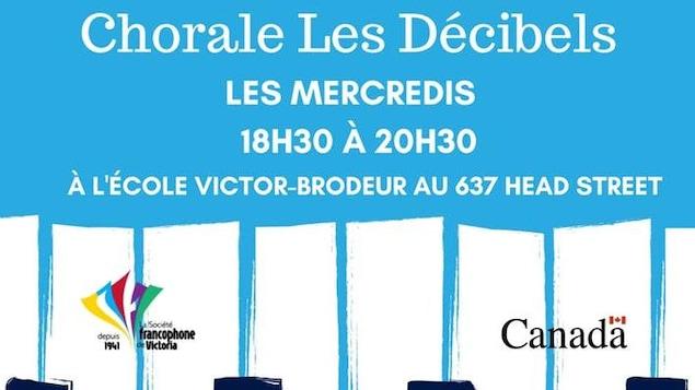 Affiche de la chorale francophone de Victoria sur fond bleu.