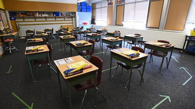 Une salle de classe dans une école primaire de l'Ontario.