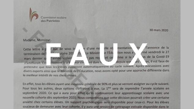 Capture d'écran d'une lettre faussement attribuée à la Commission scolaire des Patriotes laissant entendre que l'année scolaire en cours est annulée.