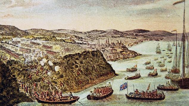 Des bateaux britanniques à l'attaque des plaines d'Abraham lors de la Conquête, en 1759.
