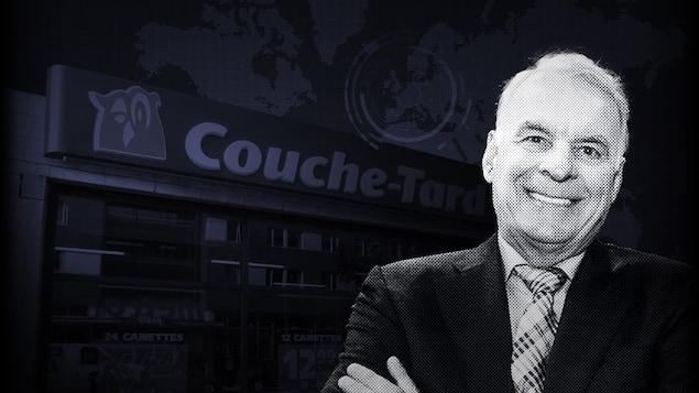 Alain Bouchard devant une enseigne de Couche-Tard