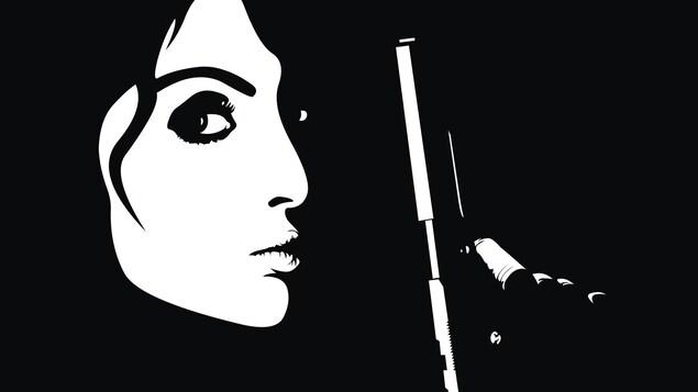 Illustration d'une femme tenant un pistolet.