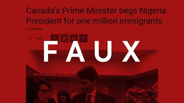On voit l'en-tête de l'article « Canada's Prime Minister begs Nigeria President for one million immigrants ». Un filtre rouge avec la mention « faux » est superposé à l'image.