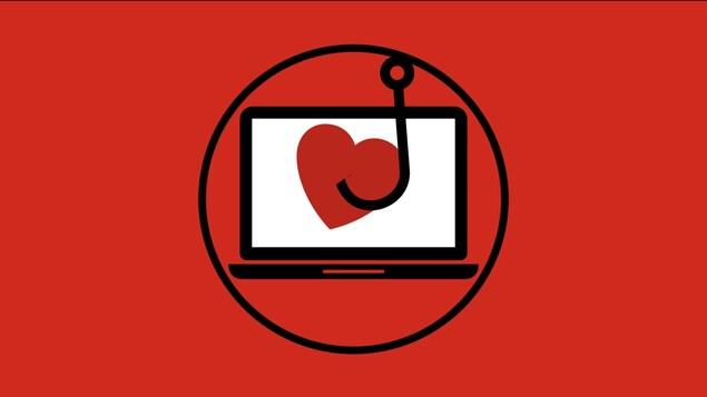 Une infographie présentant un cœur hameçonné dans l'écran d'un ordinateur portable.