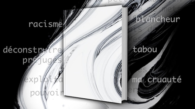 Un livre se détache sur fond de spirale noire et blanche. Les mots racisme, blancheur, déconstruire, préjugés et tabou, entre autres, s'inscrivent dans l'image.