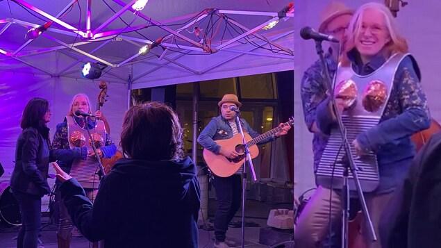 Crystal Plamondon joue de la planche à laver sur scène entourée de musiciens.