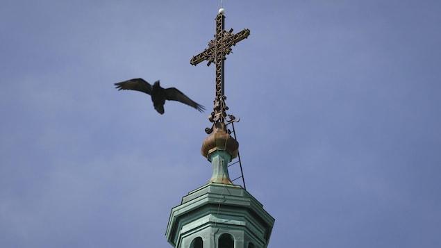 Le corbeau tourbillonne autour du clocher.