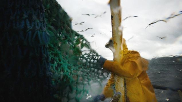 Un pêcheur dans un chalutier manipule un filet