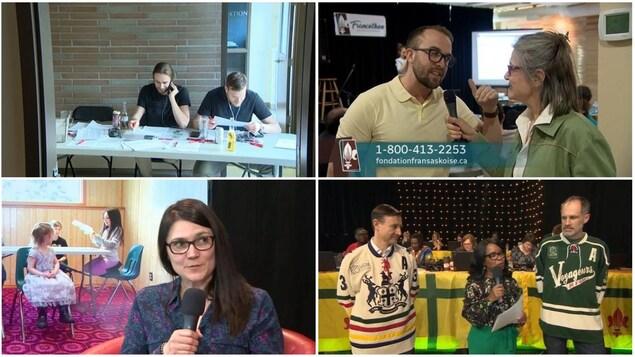 Quatre images tirées des webdiffusions du Francothon 2018.