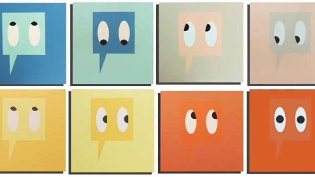 Des bulles de discussion en dessin, dans des carrées de couleur.