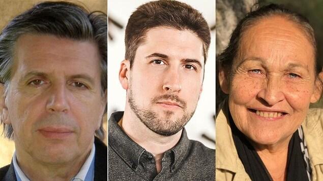 Montage photo des portraits des membres du jury du Prix de poésie Radio-Canada 2019 : Herménégilde Chiasson, David Goudreault et Josephine Bacon