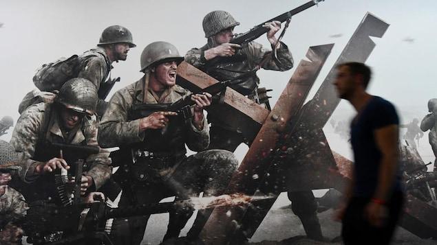 Affiche du jeu « Call of Duty: WWII » montrant des soldats de la Deuxième Guerre mondiale.