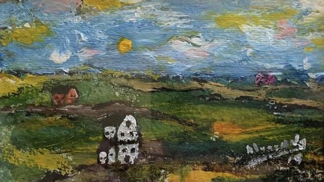 Une peinture d'un paysage des prairies.