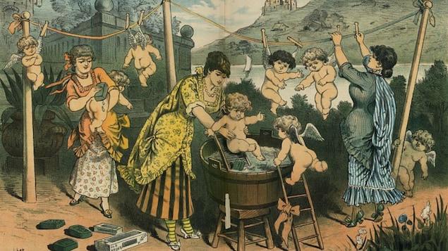 Des femmes baignent et savonnent des enfants dans une image colorée et humoristique faisant la publicité d'un savon américain du 19e siècle.