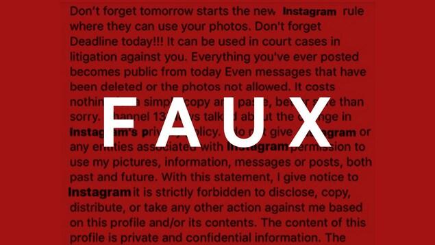 Il s'agit d'un texte qui affirme empêcher Instagram d'utiliser les photos de la personne qui le publie.