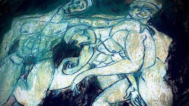 Dessin de silhouettes d'hommes en bleu.