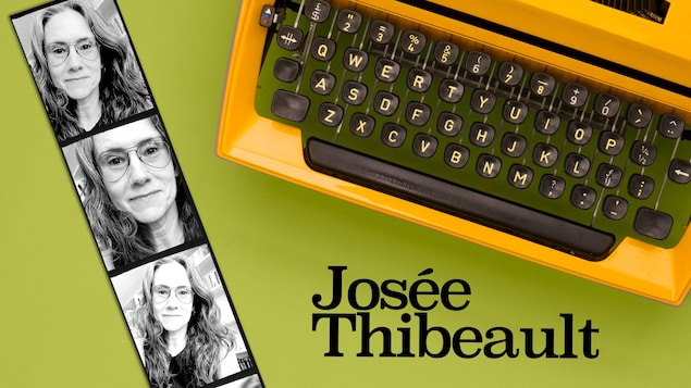Des images de style photomaton de Josée Thibeault, autrice et artiste multidisciplinaire tout près d'une machine à écrire.
