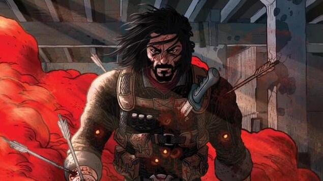 Dessin d'un guerrier aux cheveux longs, avec un couteau planté dans la poitrine et des flèches plantées dans les bras et dans le dos.