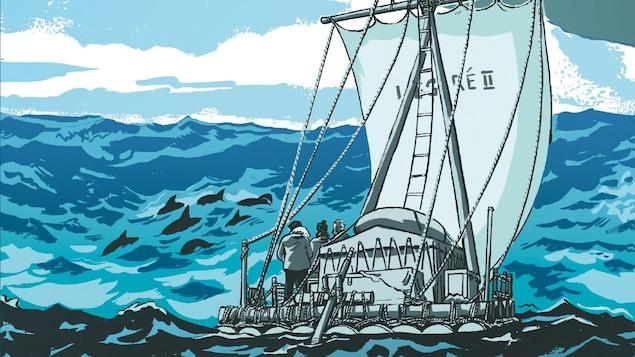 Un bateau sur d'immenses vagues traverse l'Atlantique.