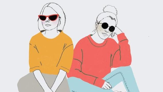 Illustration représentant deux jeunes femmes portant des lunettes de soleil.