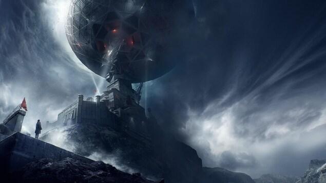 Illustration de l'affiche du film «3Body» («Les trois corps»). Une coupole satellite perchée sur une forteresse sous un ciel gris menaçant.