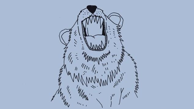 Illustration représentant, sous le titre, un ours la gueule ouverte.