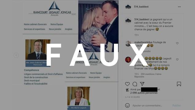 Une capture d'écran d'une publication Instagram qui allègue que le gagnant de la loterie vaccinale est un collègue de la soeur de François Legault. Le mot FAUX est superposé sur l'image.