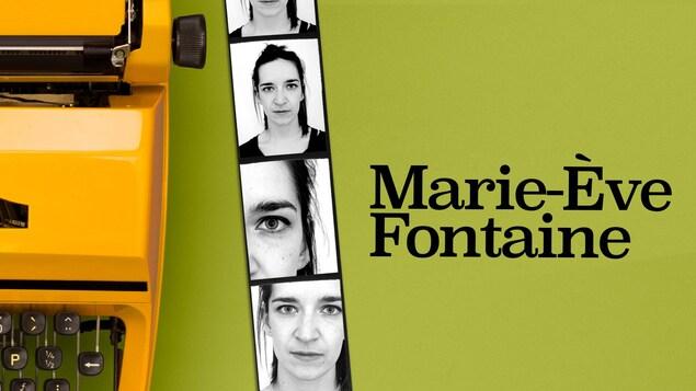 Près d'une machine à écrire, des photos de style photomaton de Marie-Ève Fontaine pour la série Cher monde.