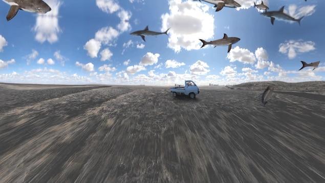 Des requins ont été superposés sur l'image d'un camion dans un champ. On a l'impression que les requins volent dans le ciel.