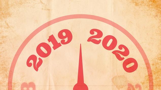 Une flèche entre 2019 et 2020, symbolisant le changement d'année et de décennie.