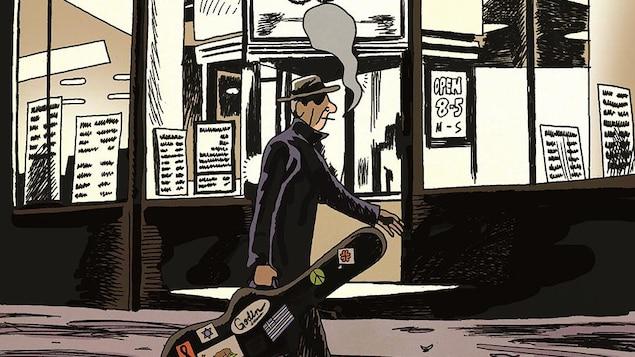 Dessin d'un homme marchant sur le trottoir, une cigarette à la bouche et une guitare dans son étui à la main.