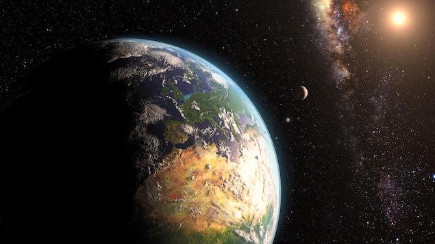Représentation artistique de la Terre et de la Lune avec comme toile de fond le Soleil et la Voie lactée.