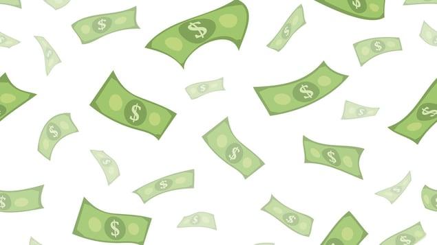 Des billets de banque verts en train de tomber du ciel.