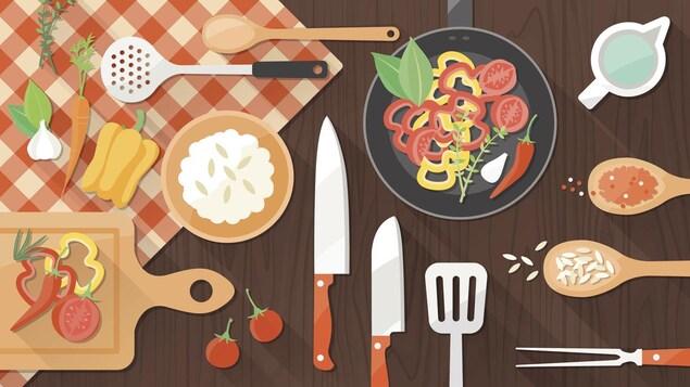 Illustration de la préparation d'un plat à base de légumes