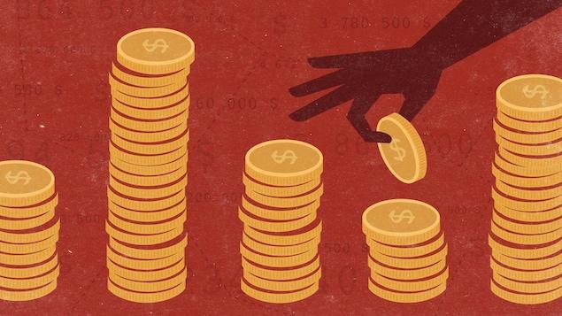 Plusieurs piles de monnaie qui représentent les quotes-parts
