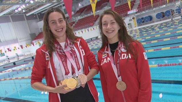 Les nageuses Aurélie Rivard et Sabrina Duchesne, médaillées des Jeux paralympiques de Tokyo
