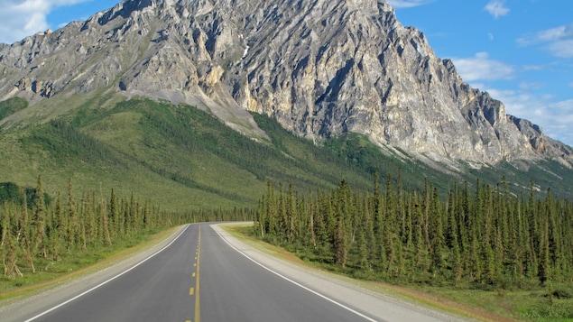 Une route dans la forêt et une grande montagne rocheuse en arrière-plan.