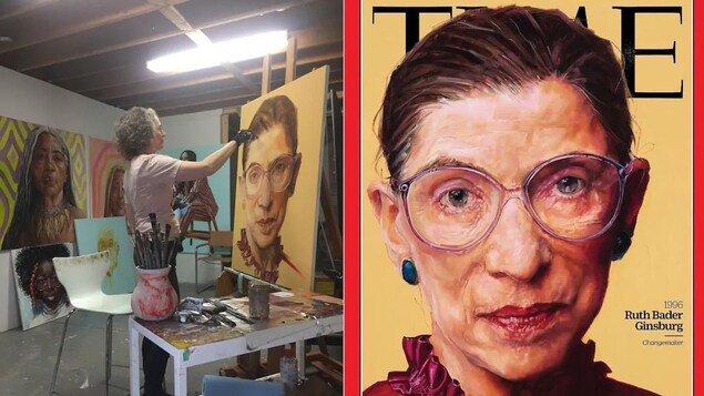 Un collage de deux images. À gauche, Shana Wilson travaille dans son atelier. À droite, le portrait qu'elle a réalisé pour la couverture du magazine Time.
