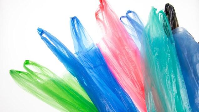 Des sacs de plastique de plusieurs couleurs.