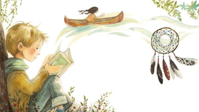 Dessin d'un petit garçon qui lit assis par terre adossé sur un arbre. Dans le haut, on voit une jeune fille dans un cannot et un capteur de rêves plus centré. En haut à droite, on voit des oiseaux et dans le bas un inuksuk.