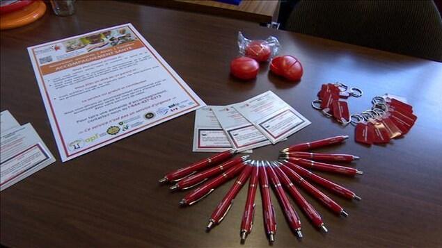 Du matériel promotionnel du Réseau santé en français : crayons, porte-clés, dépliants.