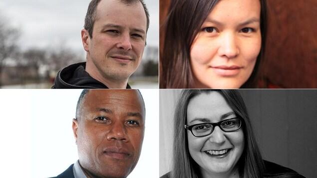 Montage des portraits des 4 membres du comité de sélection du Prix de la nouvelle Radio-Canada 2019 : Simon Brousseau, Nahka Bertrand, Guy Bélizaire et Camille Deslauriers