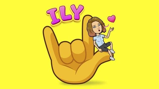 L'emoji d'une main montre comment dire je t'aime en langue des signes américaine.