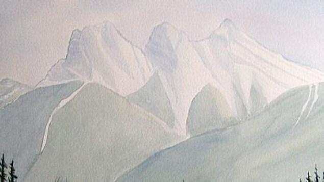 Un tableau peint à l'aquarelle qui montre les Rocheuses au-dessus d'un lac entouré d'arbres.